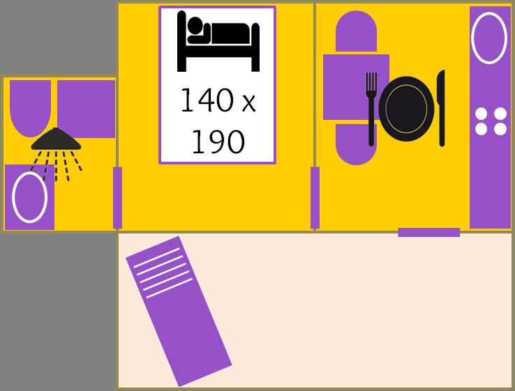 Plan des maisonnettes Buis (Salle de douche intérieure)