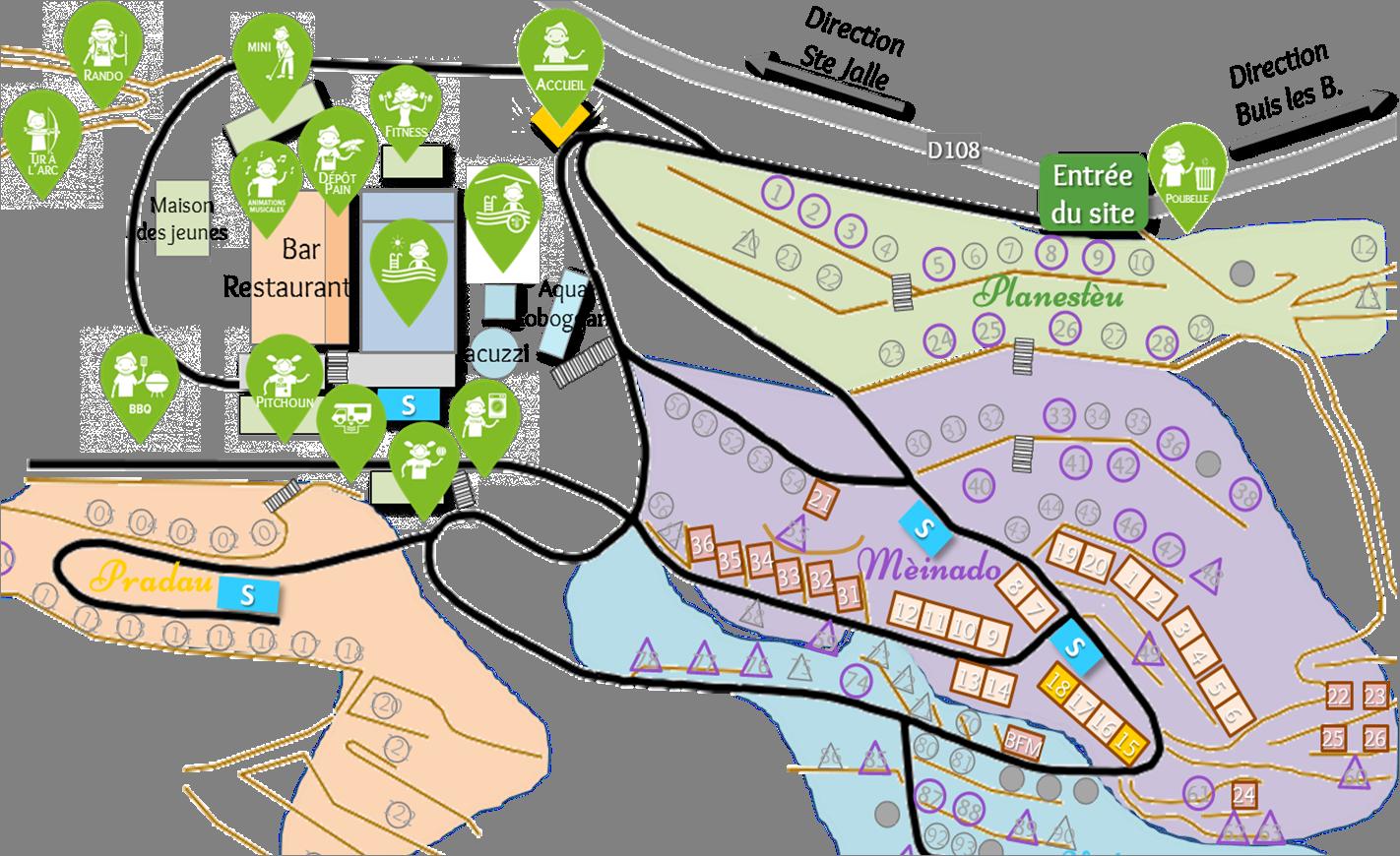Localisation des maisonnettes Lavande