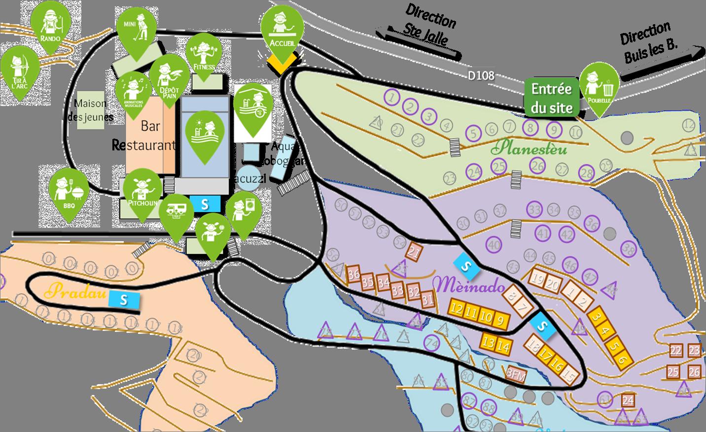 Localisation des maisonnettes Buis