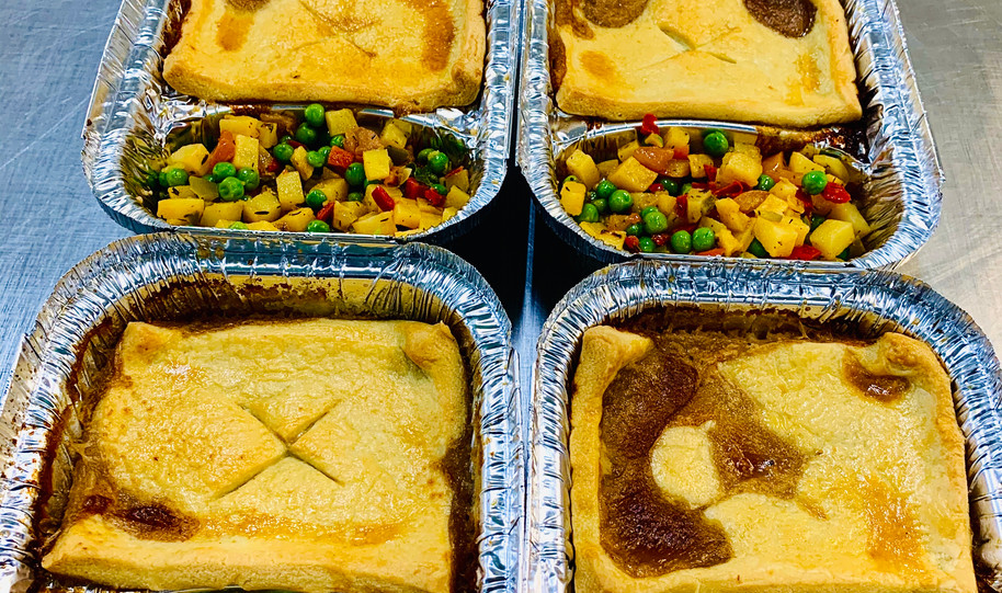 Beef pie with roasted vegetable medley -