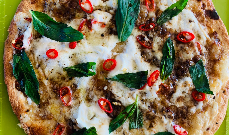 Pizza - mint with ricotta balsamic and c