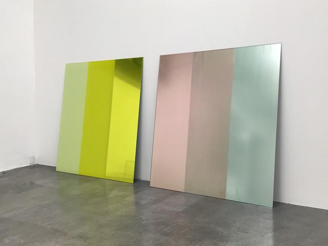Quilt & silkscreen prints on mirror, Philipp Gufler