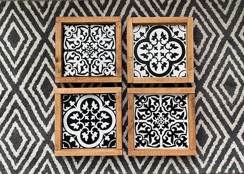 Set of 4 Framed Moroccan Tiles