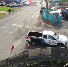 Garage slab concrete pouring - drone