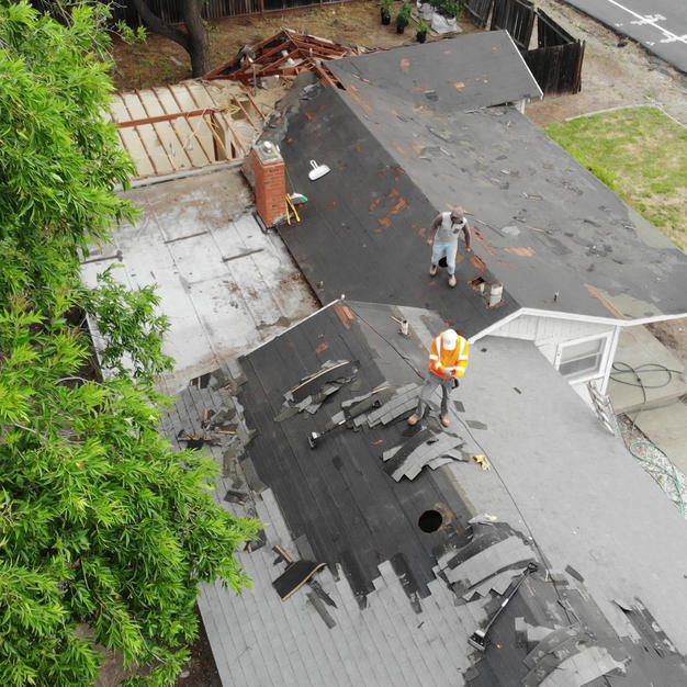 Roof demolition drone video