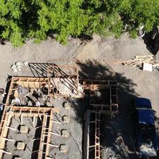 Foundation footing - concrete pour drone video