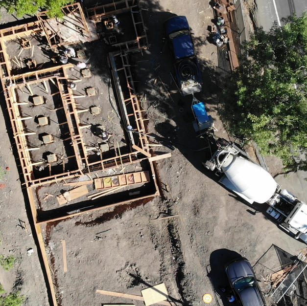 Concrete footers pumping - drone video