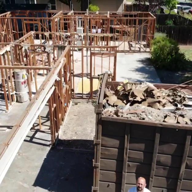 Complete Home demolition -  skeleton drone video