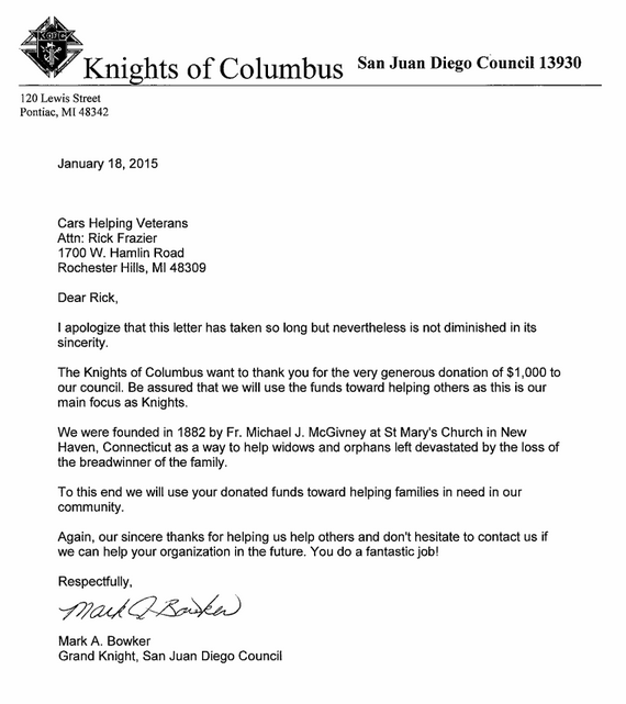 Knights of Columbus thanks you