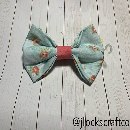 Light Blue With Pink Flowers Bow