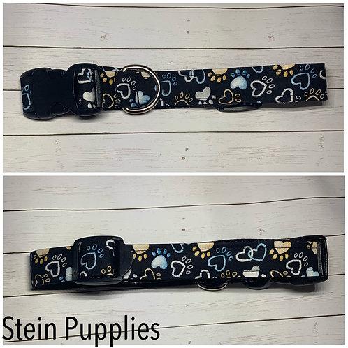 Blue & Yellow Pawprint Collar