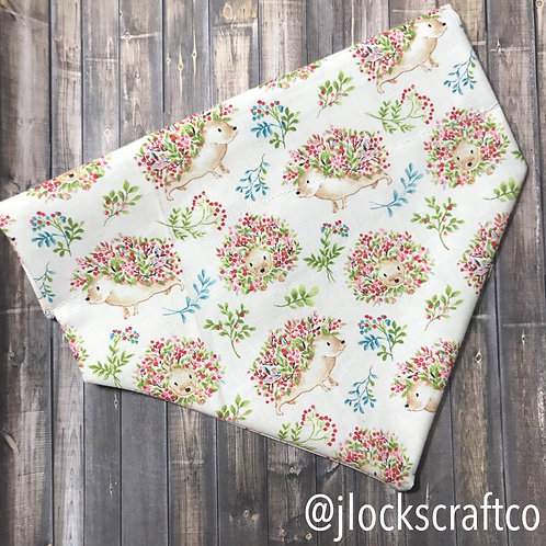 White Floral Hedgehog Over The Collar Bandana