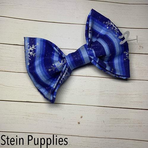 Blue Winter Stripe Bow