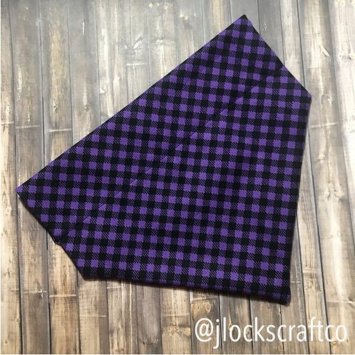 Black & Purple Plaid Over The Collar Bandana