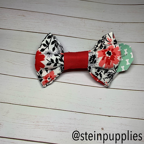 White With Pink & Red Flowers Bow