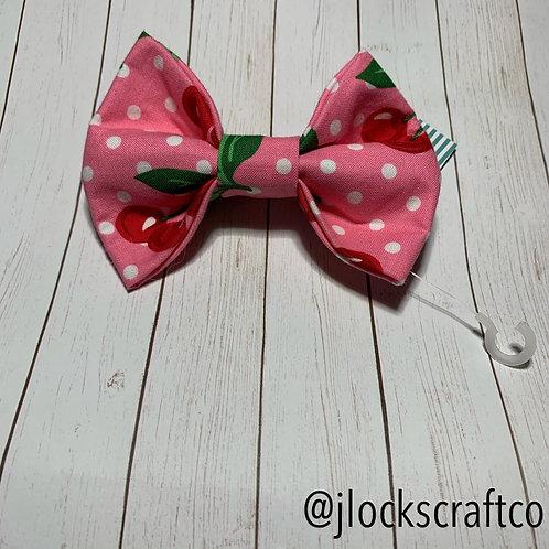 Pink Polkadot Cherry Bow