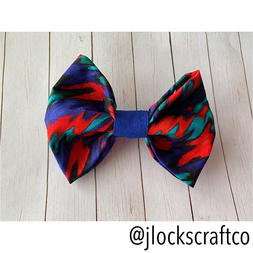 Waves Of Teal, Red & Blue Bow