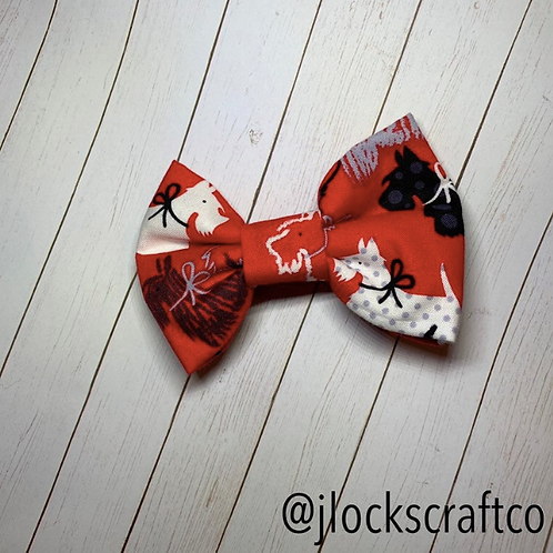 Black & White Dogs On Red Bow