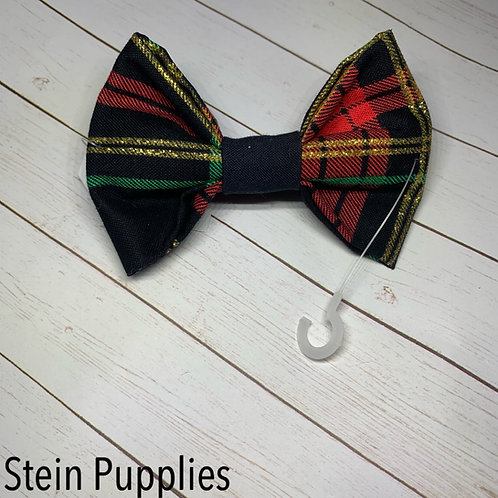 Black Holiday Plaid Bow