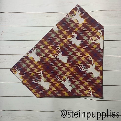 Red Plaid Deer Over The Collar Bandana