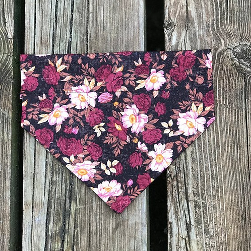Black Vintage Floral Over The Collar Bandana