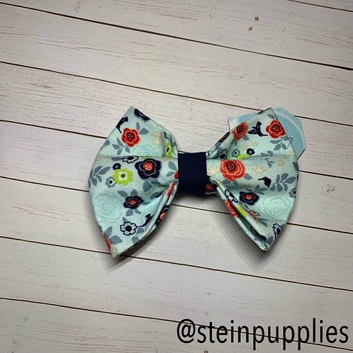Light Blue With Red & Green Flowers Bow