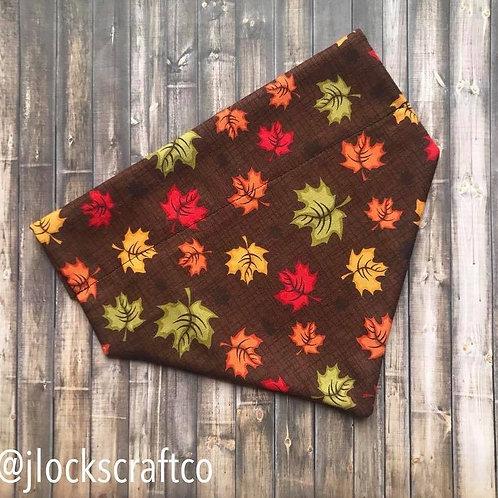 Brown Leaves Over The Collar Bandana