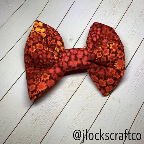 Red & Orange Floral Bow