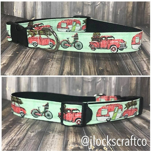 Red Truck With Christmas Tree & Camper Collar