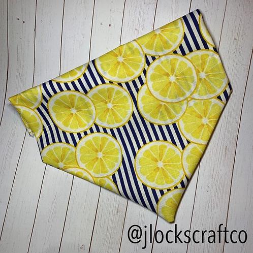 Navy & White Striped Lemon Over The Collar Bandana