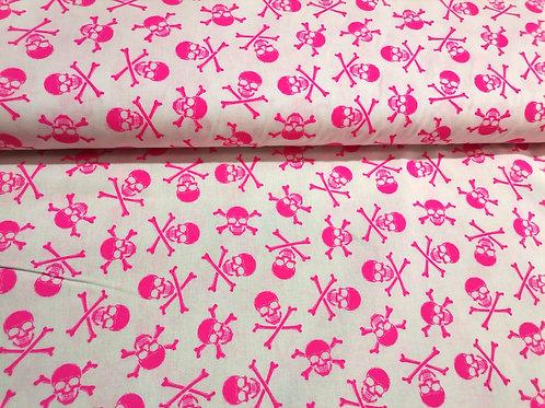 Algodón Pink Skulls