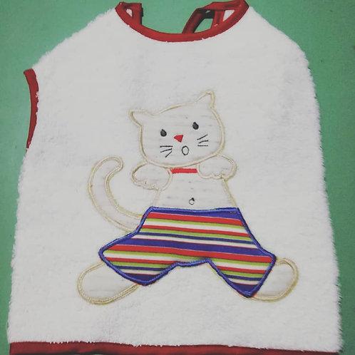 Babero tipo chino gatito rayas
