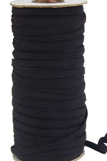 Rollo de cinta elástica negra - 6 mm - 25 mts