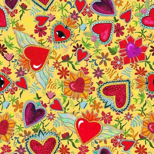 Loneta Hearts on Yellow