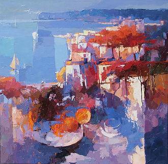Dejeuner au bord de la mer 100x100 Oil on canvas Alex Bertaina