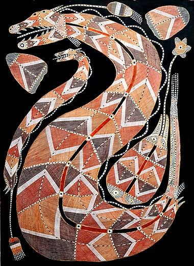 Impressive aboriginal Arnhemland artwork by by indigenous artist Ivan Namarriki