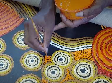Aboriginal dot painting, orange black yellow