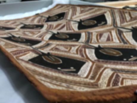 close up image of aboriginal bark painting