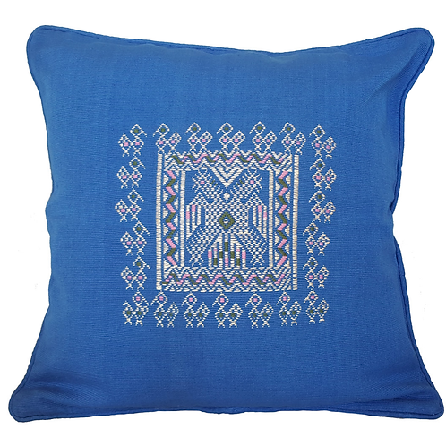Eagle Embroidery Pillow - blue