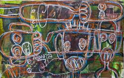 Aboudia, Untitled Street Kids, 2015