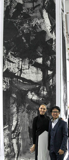 Art Central Fair Director Maree Di Pasquale with the artist Lan Zhenghui.