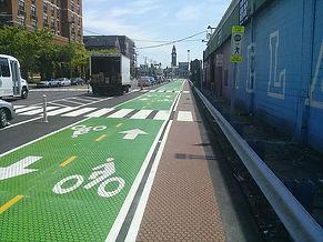 Asphalt decorative concrete stencil bike lane