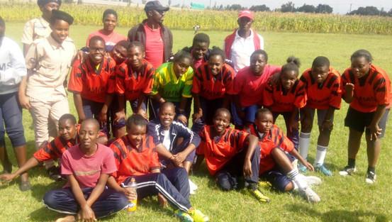 Girls soccer team after a win