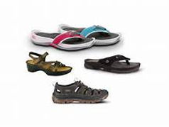 Differet styles of sandals with built in orthotics.