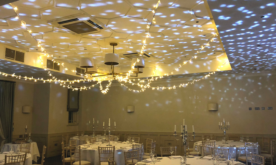 Add a new dimension to both the Old library and the Evelyn Suite.   We will add moving lights to the ceiling in both locations along with uplighters in the colour of your choice, keeping the theme going throughout.   Starlit ceiling package in Old Library or Evelyn Suite £200 or both for £350