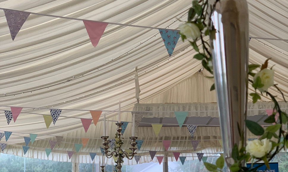 The marquee creates a wonderful atmosphere for your perfect celebration.  Contact us and we will work with you to bring the space to life.