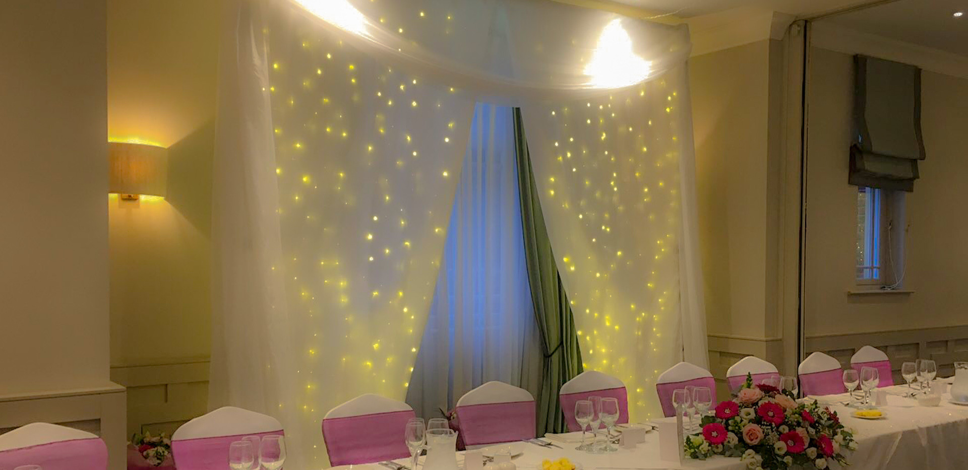 Framing your first meal together and giving you the backdrop to remember.   A Fairylit curtain is the perfect way to create the perfect setting.    £149