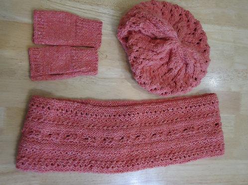 Set: Cowl Scarf, Fingerless Gloves, Slouch Hat