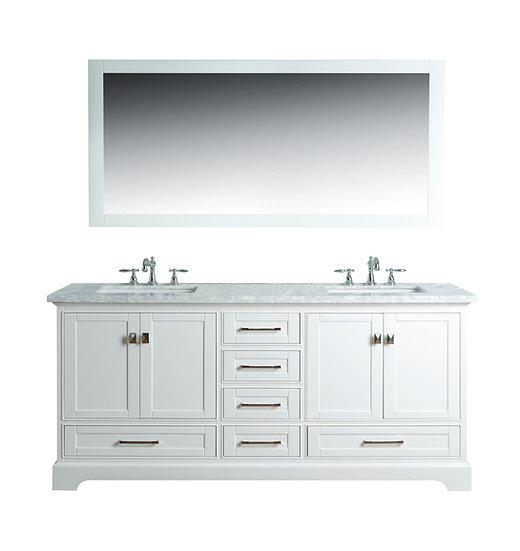 "Newport White 72"" Double Sink Vanity with Mirror"