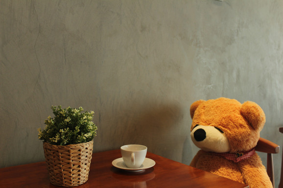 Teddy with his cup of coffee